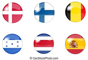 botones, 3, conjunto, bandera