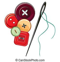botones, aguja