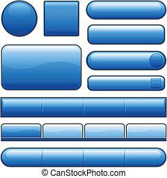 botones azules, brillante, internet