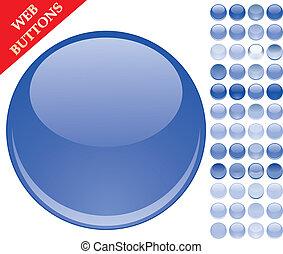 botones azules, conjunto, esferas, 49, iconos, ilustración, vidrio, vector, brillante, tela
