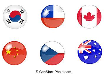 botones, bandera, conjunto, 4