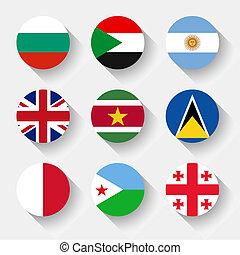botones, banderas, redondo, mundo