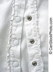 botones, blanco, primer plano, camisa
