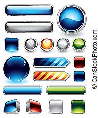 botones, brillante, colección