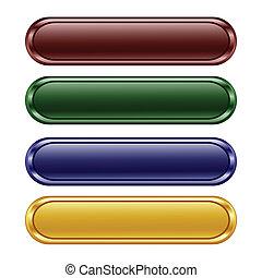 botones, brillante, oblongo, cuatro