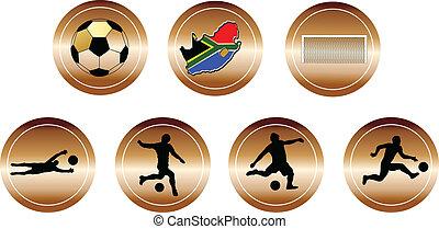 botones, cobre, futbol