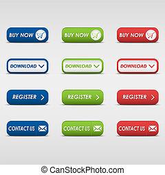 botones, coloreado, colección, rectangular