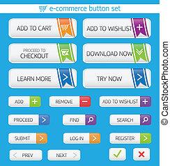 botones, comercio electrónico, conjunto