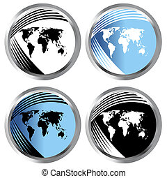 botones, con, mapas del mundo
