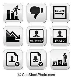botones, conjunto, fracaso, rechazado, hombre