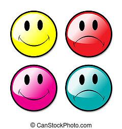 botones, conjunto, iconos, smiley, infeliz, cara, insignias, o, feliz