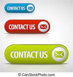 botones, conjunto, nosotros, contacto