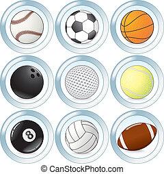 botones, conjunto, vector, pelotas, deporte