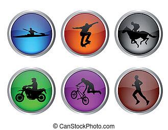 botones, deporte, conjunto, brillante