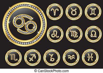 botones, dorado, muestras del zodiaco, d