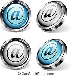 botones, e-mail, tela
