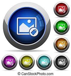 botones, imagen, redondo, tagging, brillante