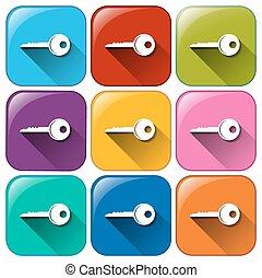 botones, llaves