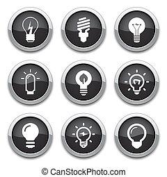 botones, luz, bombilla