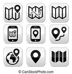 botones, mapa, viaje, conjunto