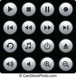 botones, medios, plata