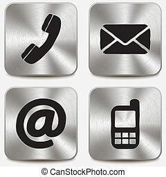 botones, metálico, contáctenos, iconos