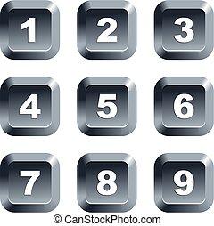 botones, número