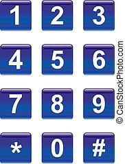 botones, números