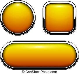 botones, naranja, brillante