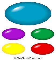 botones, oval, -