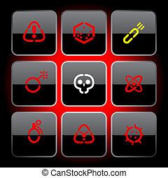 botones, plantilla, peligro