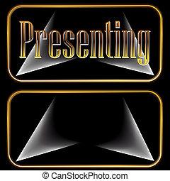botones, presentación, oro, proyector