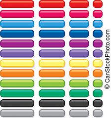 botones, rectangular, 3d