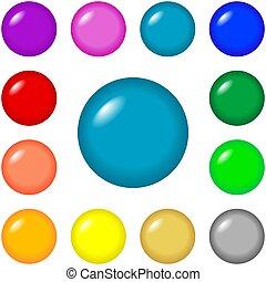botones, -, redondo