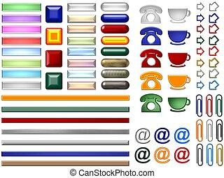botones, sitio web, en línea