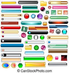 botones, tela, conjunto, 63