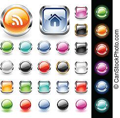 botones, tela, conjunto, brillante