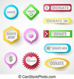 botones, tela, conjunto, caridad, donate.