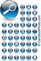 botones, tela, conjunto, iconos