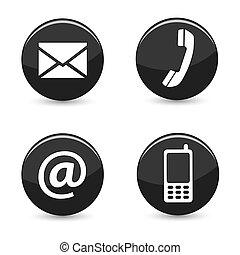 botones, tela, contáctenos, iconos