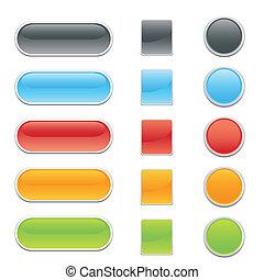 botones, tela, o, sitio, internet