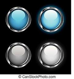 botones, tela, rollover, brillante