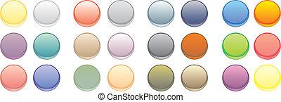 botones, tela, vector, colorido