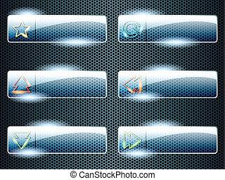 botones, transparente, rectangular