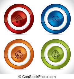botones, vario, brillante, iconos