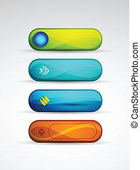 botones, vector, coloreado
