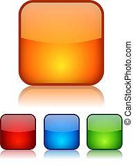 botones, vector, cuadrado, vidrioso