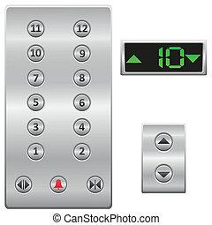 botones, vector, elevador, panel
