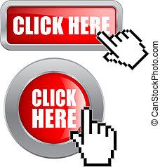 botones, vector, haga clic aquí