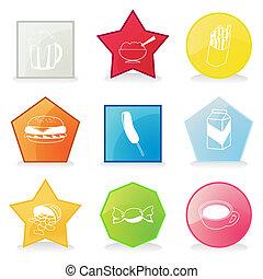 botones, vector, ilustración, icons., comida
